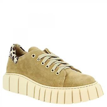 Leonardo Shoes Women's handmade high sole sneakers in beige suede leather with leopard detail