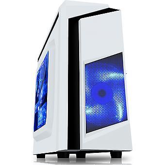 CiT F3 White Micro-ATX Case With 12cm Blue LED Fan & Black Stripe