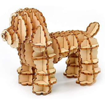 3D Holz Puzzle Spielzeug für Kinder Erwachsene Holz Tier Hund Pudel Modell Puzzle dt6122