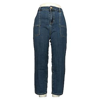 LOGO By Lori Goldstein Women's Jeans Boyfriend Slim-Leg Blue A350567