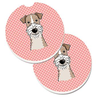 Caroline's Treasures Damierboard Pink Wire Haired Fox Terrier Set of 2 Cup Holder Car Coasters BB1247CARC, 2.56, Multicolor