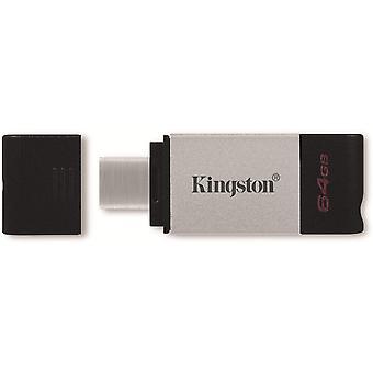 Kingston DataTraveler 80 64 GB USB 3.2 USB-C Metallgrå / Svart USB-flashminne