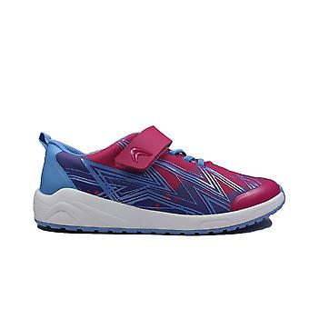 Clarks Aeon Pace Youth Pink Combi Childrens Trainers
