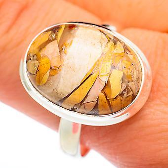 Brecciated Mookaite Ring Tamanho 11.25 (925 Sterling Silver) - Handmade Boho Vintage Jewely RING74240