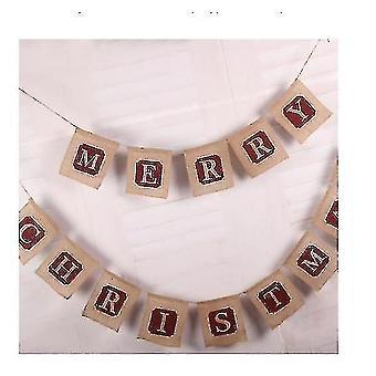 Frohe Weihnachten Jute Burlap Banner, Weihnachtsbanner, Weihnachtsdekoration