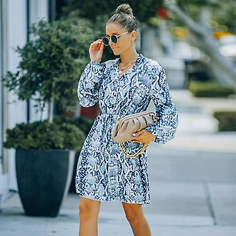 Women's Autumn And Winter New Style European And American Ins Style Fashion V-neck High-waist Lace-up Floral Chiffon Dress (l Size)