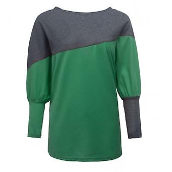 Sweater Long-sleeved T-shirt Loose Plus Size Women's Stitching Green