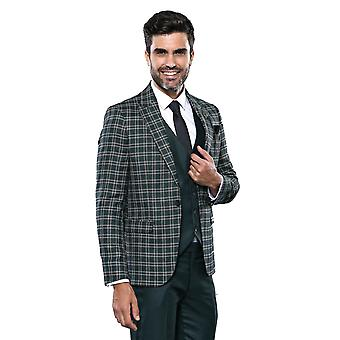 Green vested men's suit with checked jacket | wessi