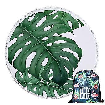 150 Cm skandinavischer Stil grüne Blätter Sommer runde Strandtuch mit Tragetasche (Handtuch und Tasche)