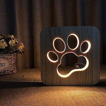 Usb noční světlo ve vyřezávaném dřevěném vzoru 3d Animal Paw Play Basketball.