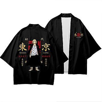 Tokyo Revengers Cosplay Cloak Anime Top For Summer Hanagaki Takemichi Ken Ryuguji Haori Kimono Tee Men Short-sleeve