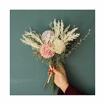 Korean Chrysanthemum Ball Holding Green Plant Table Silk Flower Flower Simulation Artificial Flower Bouquet di nozze di fascia alta (rosa viola)