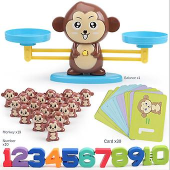 子供の教育玩具、学習数学ゲーム、デジタルバランス、クリスマスプレゼント、誕生日プレゼント-(茶色の猿)