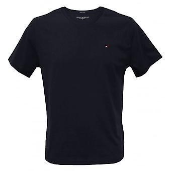 Tommy Hilfiger ikonen Crew-neck bomull T-Shirt, marinblå