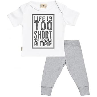 Spoilt Rotten Life Too Short For A Nap Baby T-Shirt & Baby Jersey Trousers Outfit Set