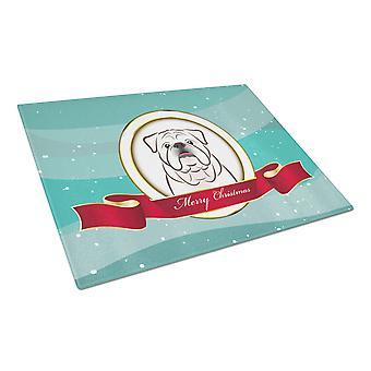 White English Bulldog  Merry Christmas Glass Cutting Board Large