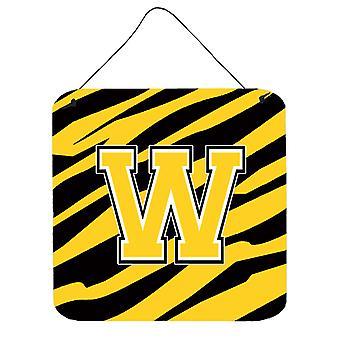 الحرف W النمر الأولى شريطية-الذهب الأسود الجدار أو الباب معلقة يطبع