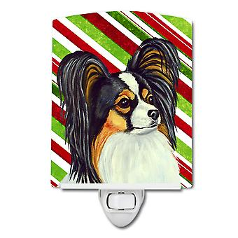 Papillon Candy Cane Holiday Christmas Ceramic Night Light