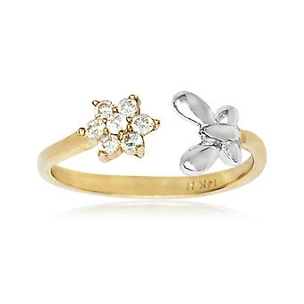 14k Yellow and White Gold Adjustable Butterfly Angel Wings And Flower Body Jewelry Toe Ring Jewelry Gifts for Women