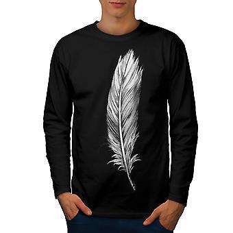 Elegante fjær menn BlackLong ermet t-skjorte | Wellcoda