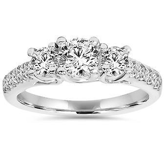 1 1 / 4ct drei steinerne Labor erstellt Diamond Engagement Ring 14 K Weissgold