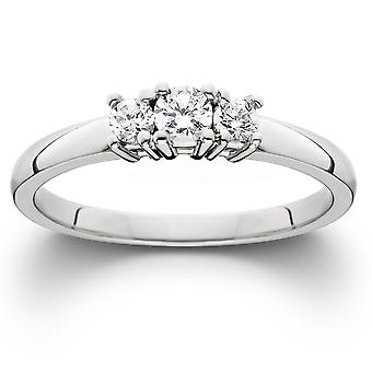 1 / 4ct witgoud 3 Stone Diamond Engagement Ring