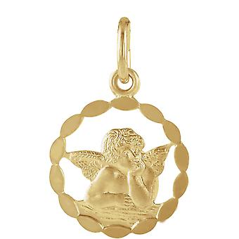 14k Yellow Gold Religious Guardian Angel Pendant Necklace 12mm Jewelry Gifts for Women - .6 Grams