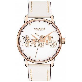 Coach Womens Grand witte lederen riem Rose Gold Case White Dial 14502973 Watch