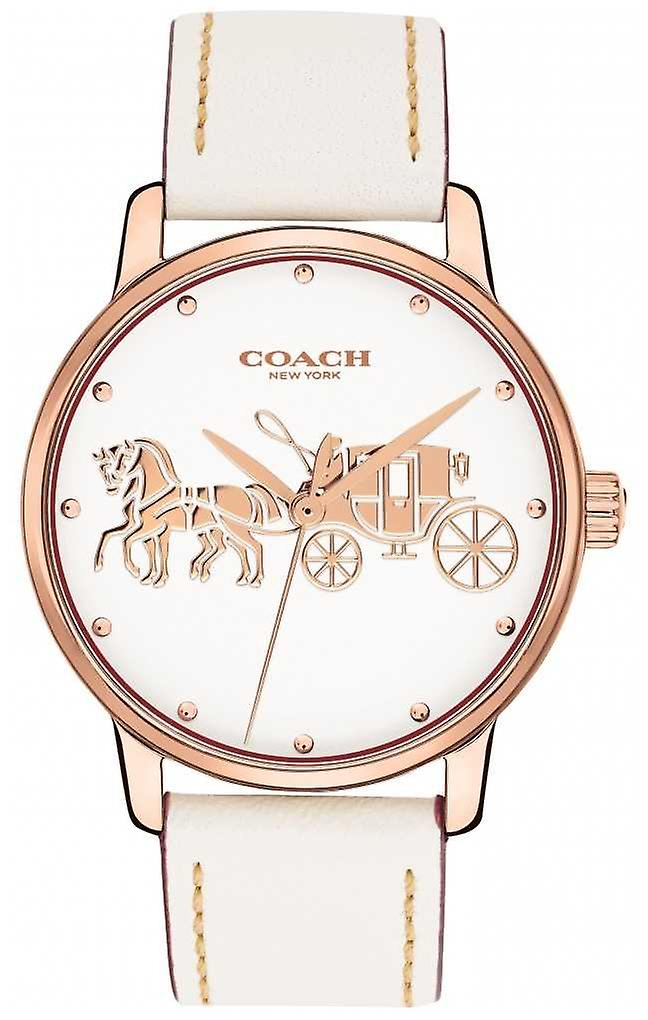 Coach Womens Grand White Leather Strap Rose Gold Case White Dial 14502973 Watch