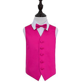Hot Pink Plain Satin Hochzeit Weste & Fliege Set für jungen