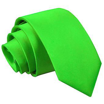 Apple Green platte satijnen regelmatige stropdas voor jongens
