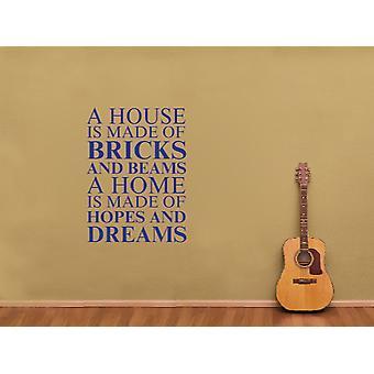 Une maison est faite d'Art Wall Sticker - Bleu foncé