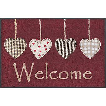 lavar + secar alfombra estera casa roja corazones 50 x 75 cm piso lavable