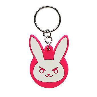 Overwatch Bunny D.VA portachiavi logo bianco / rosa 100% metallo, sulla carta della bolla.