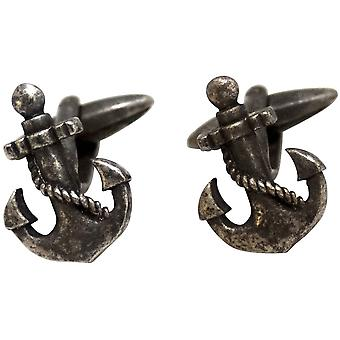 Zennor Anchor Cufflinks - Rust Silver