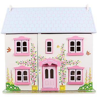 Bigjigs Toys Wooden Heritage Playset Rose Cottage Complete Dolls House