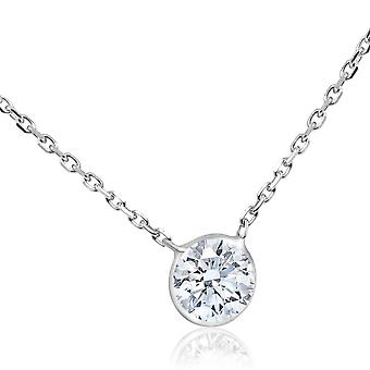 1CT Diamant Solitär Lünette Anhänger 14k Weißgold 18