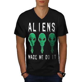 Aliens Mystery Funy Men BlackV-Neck T-shirt | Wellcoda