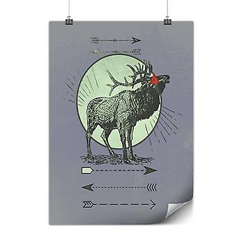 Matte or Glossy Poster with Deer Stag Moon   Wellcoda   *y3068