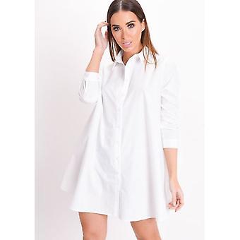 Pitkä hiha painike alas leimahtaa paita mekko valkoinen
