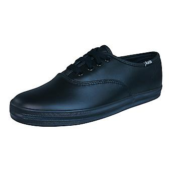 Keds Original Champion CVO Kids Lace Up Leather Trainers / Shoes - Black