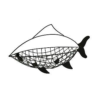Negro afligidos peces de alambre de Metal en forma de cesta decorativa