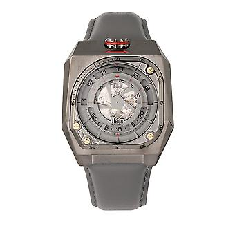 Reign Asher Automatic Sapphire Crystal Leather-Band Watch - Gunmetal/Grey