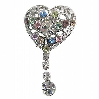 Heart Shaped broche Multicolor kristallen bungelen Celebrity broche speld