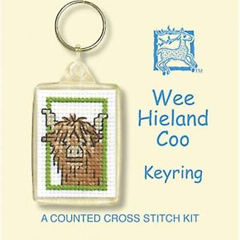 Counted Cross Stitch Wee Hieland Coo Keyring Kit by Textile Heritage