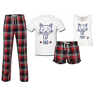Cat Mum Cat Dad Couples Matching Pyjama Tartan Set