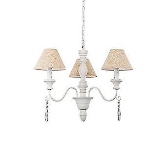 Ideal Lux-Provence hvid træ tre lys lysekrone med beige nuancer IDL025032