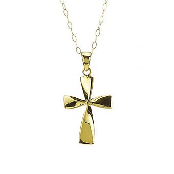 Eternity 9ct Gold Polished Twisted Cross Pendant And 16'' Trace Chain