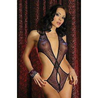 Passion Lingerie Mariel Sheer Black Body with Purple Shimmer