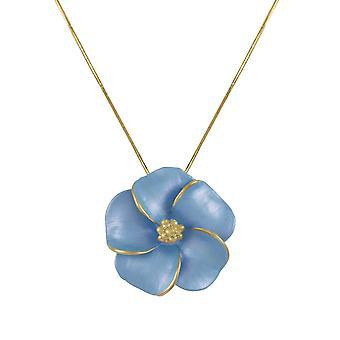 Eternal Collection Pansy Cornflower Blue Enamel Flower Gold Tone Pendant Necklace